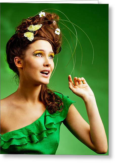 Woman Looking At Butterfly Greeting Cards - Young Woman with Smmer Make-up Greeting Card by Anna Bryukhanova