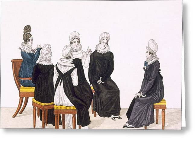 Gathering Drawings Greeting Cards - Young Women Chatting, C. 1820 Greeting Card by French School