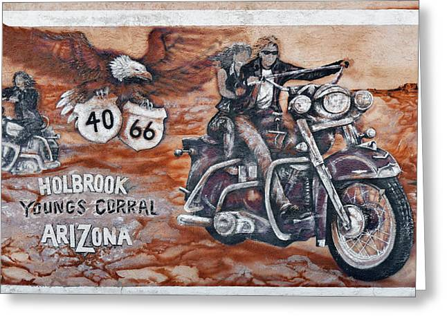 Main Street Greeting Cards - Youngs Corral in Holbrook AZ on Route 66 - The Mother Road Greeting Card by Christine Till