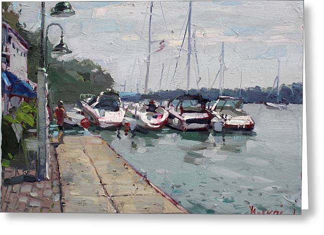 Deck Greeting Cards - Youngstown Yachts Greeting Card by Ylli Haruni