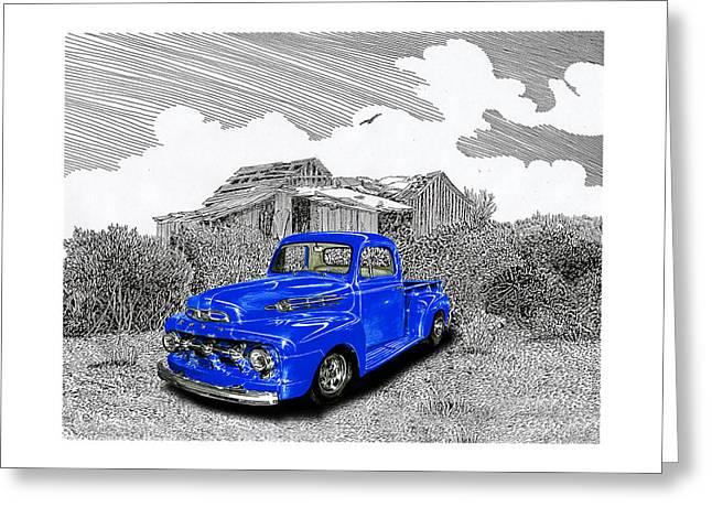 Print On Acrylic Drawings Greeting Cards - Your 1952 F 100 Pick Up in N M  Greeting Card by Jack Pumphrey