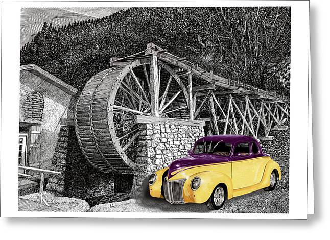 Selective Coloring Art Greeting Cards - 1939 Ford Street Rod next to Waterwheel Greeting Card by Jack Pumphrey