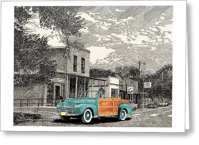 Print On Acrylic Drawings Greeting Cards - 1946 Ford Sports Man Convertible  in Hillsboro N M  Greeting Card by Jack Pumphrey