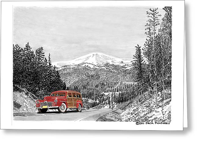 Print On Acrylic Drawings Greeting Cards - 1946 Ford Special Deluxe Woody on Apache Summit Greeting Card by Jack Pumphrey