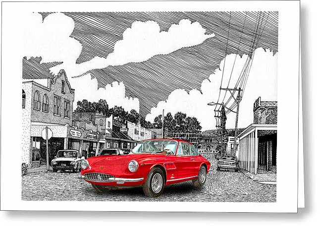 Selective Coloring Art Greeting Cards - Your Ferrari in Tularosa N M  Greeting Card by Jack Pumphrey