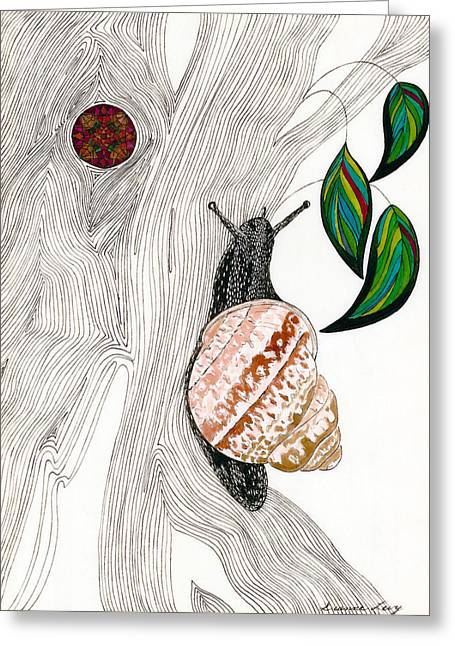 Helix Drawings Greeting Cards - Your Garden Snail Greeting Card by Dianne Levy