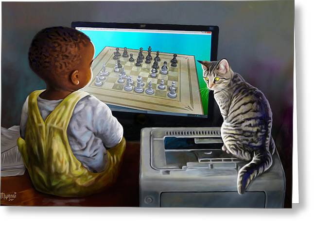 Kitten Prints Greeting Cards - Your Move Greeting Card by Anthony Mwangi