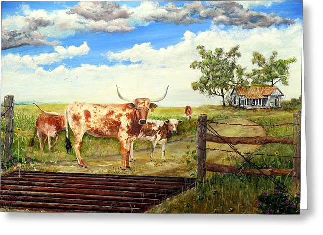 Tin Roof Paintings Greeting Cards - Longhorn stand off your place or mine Greeting Card by Michael Dillon