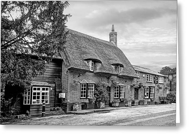 Old Inns Greeting Cards - Your Shout - Axe and Compasses Pub BW Greeting Card by Gill Billington