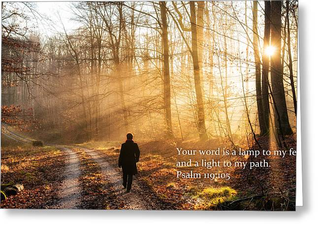The Sun God Photographs Greeting Cards - Your word is a light to my path bible verse quote Greeting Card by Matthias Hauser