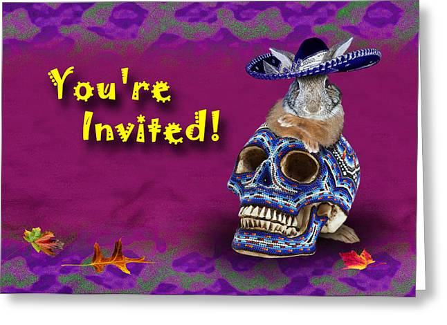 Party Invite Greeting Cards - Youre Invited Bunny Rabbit Greeting Card by Jeanette K