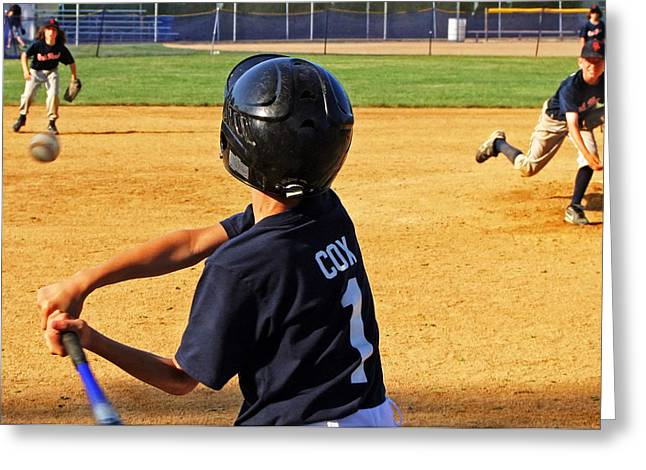 Museum Quality Greeting Cards - Youth Baseball Greeting Card by David Gilbert