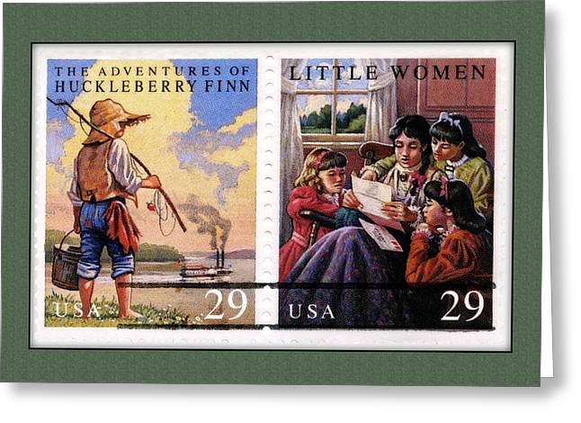 Alcott Greeting Cards - Youth Classics Stamps Greeting Card by Phil Cardamone