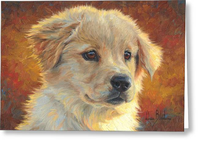 Golden Retriever Puppy Greeting Cards - Youth Greeting Card by Lucie Bilodeau