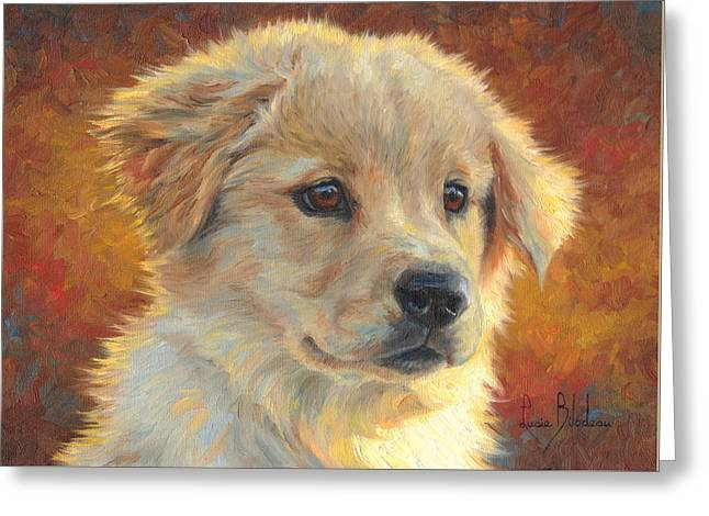 Puppies Paintings Greeting Cards - Youth Greeting Card by Lucie Bilodeau