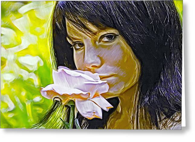 Youthful Digital Art Greeting Cards - Youthful Rose Greeting Card by Brian Giddings