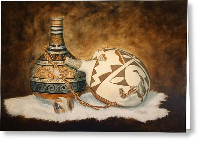 Straps Paintings Greeting Cards - You Tube Video-Indian Pots Greeting Card by Roena King