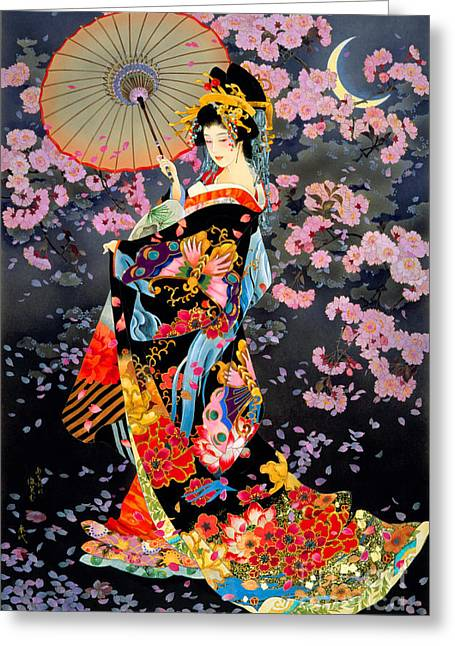 Umbrella Greeting Cards - Yozakura Greeting Card by Haruyo Morita