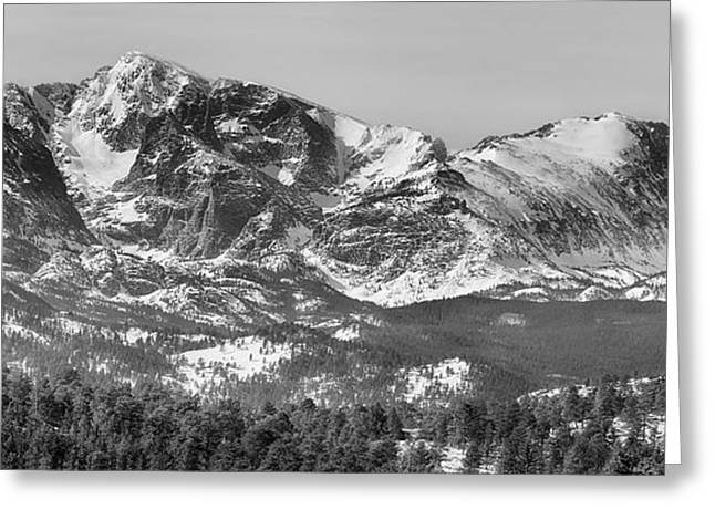 Mummy Range Greeting Cards - Ypsilon Mountain and Fairchild Mountain Panorama RMNP BW Greeting Card by James BO  Insogna