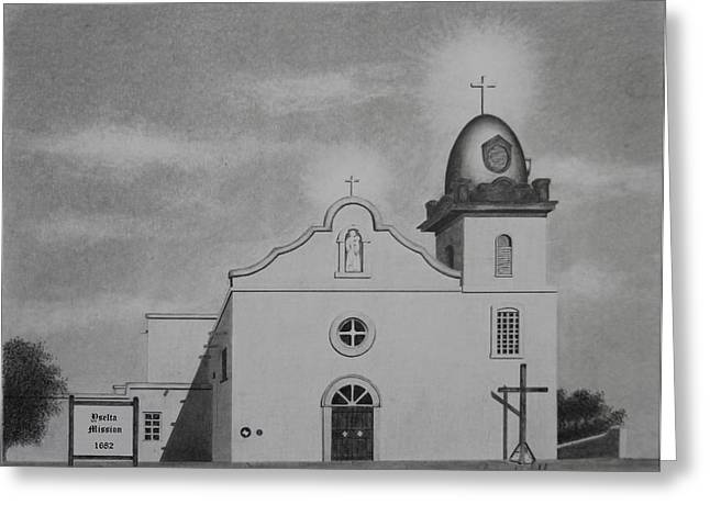 Pueblo Drawings Greeting Cards - Yselta Mission Greeting Card by Gregory Lee