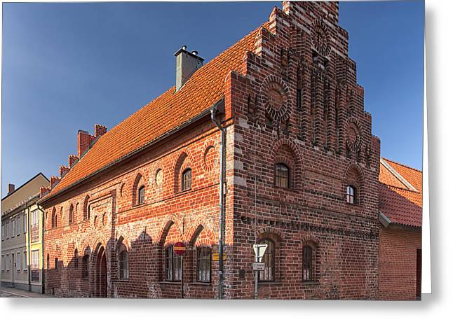 Residential Structure Greeting Cards - Ystad Townhouse Greeting Card by Antony McAulay