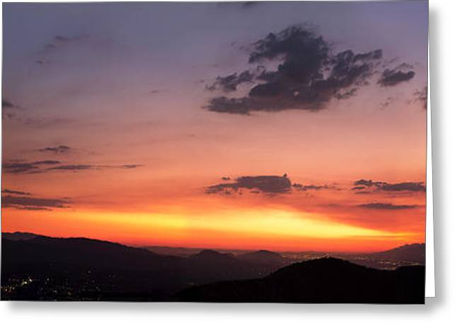 Realistic Pyrography Greeting Cards - Yucaipa Sunset Greeting Card by Victor  Castillo