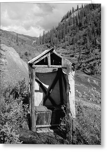 Outdoor Toilets Greeting Cards - Yukon Alaska Outhouse Greeting Card by Daniel Hagerman