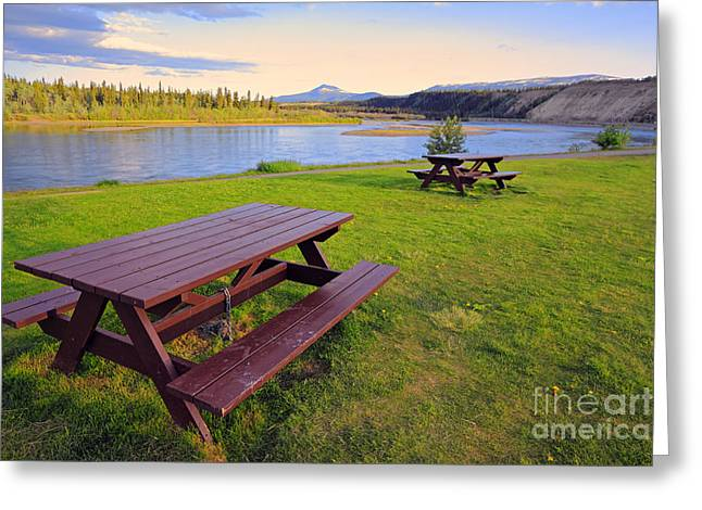Whitehorse Greeting Cards - Yukon River Greeting Card by Charline Xia