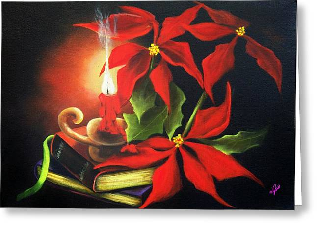 Xmas Greeting Cards - Yule Candle Glow Greeting Card by Joni McPherson