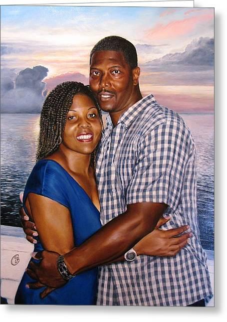 Jamaican Sunset Greeting Cards - Yulonda and A J Greeting Card by Glenn Beasley