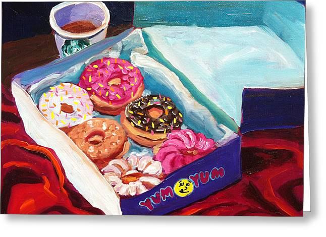 Yum Yum Donuts Greeting Card by Sean Boyce