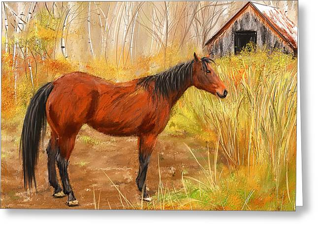Pasture Scenes Paintings Greeting Cards - Yuma- Stunning Horse in Autumn Greeting Card by Lourry Legarde