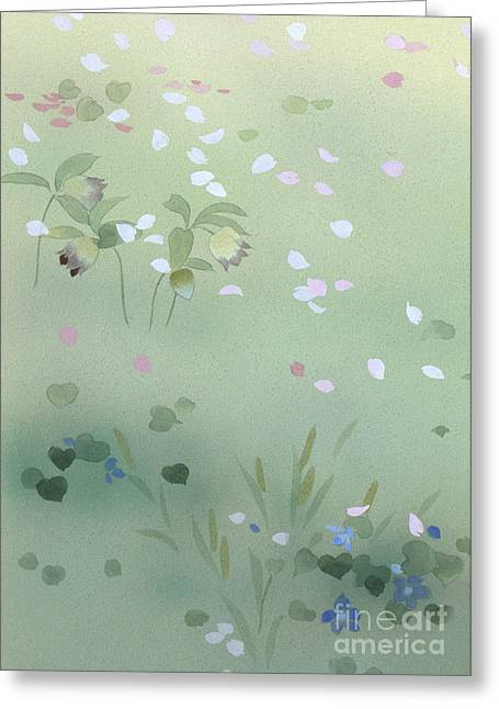 Recently Sold -  - Purple Robe Greeting Cards - Yumezakura Crop Greeting Card by Haruyo Morita