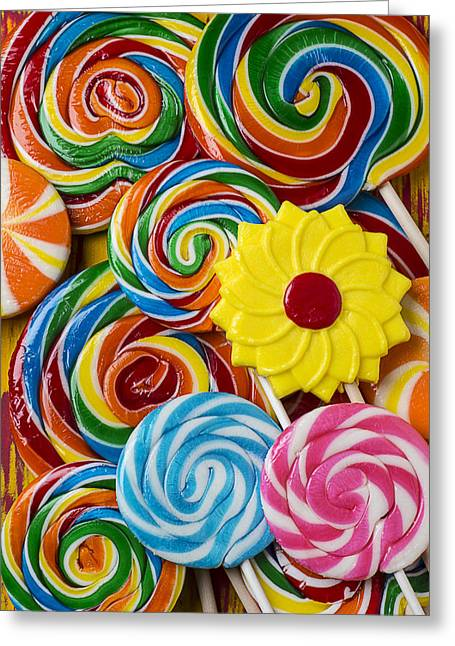 Sweetness Greeting Cards - Yummy candy suckers Greeting Card by Garry Gay