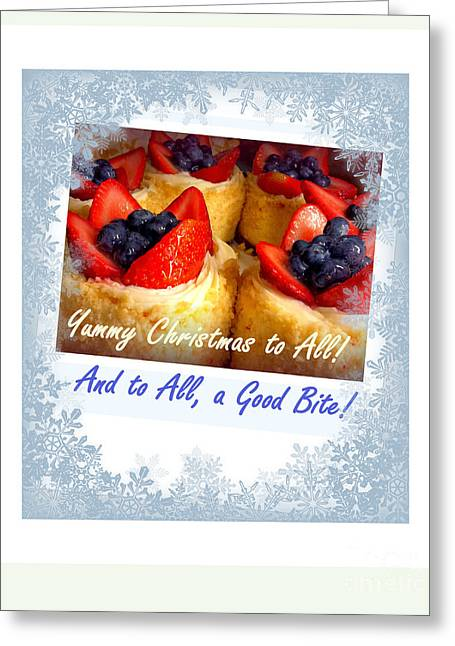 Joy To The World Greeting Cards - Yummy Christmas to All - Strawberry Tarts Greeting Card by Miriam Danar