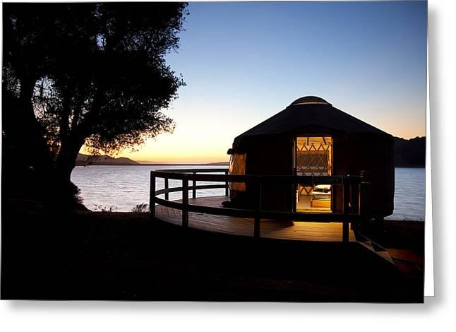 Yurts Greeting Cards - Yurt on Lake Cachuma Greeting Card by Jenna Szerlag
