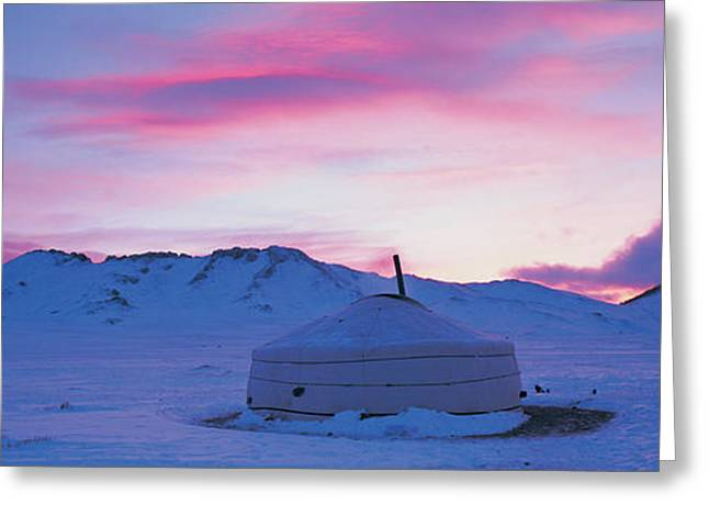 Yurts Greeting Cards - Yurt The Traditional Mongolian Yurt Greeting Card by Panoramic Images