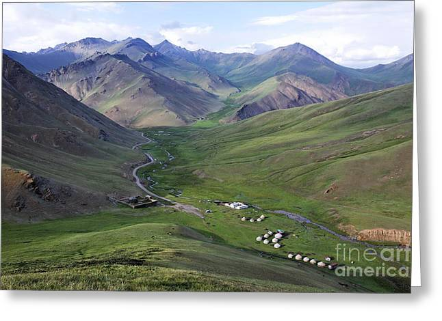 At-bashy Mountain Range Greeting Cards - Yurts in the Tash Rabat Valley of Kyrgyzstan  Greeting Card by Robert Preston