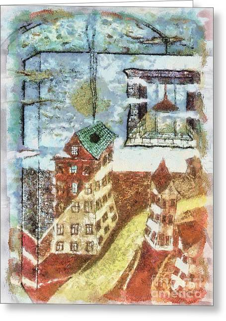 Fantasy World Pyrography Greeting Cards - YURY BASHKIN from window Greeting Card by Yury Bashkin
