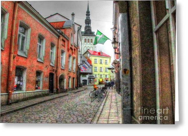 Tallinn Pyrography Greeting Cards - YURY BASHKIN Tallinn Estonia Greeting Card by Yury Bashkin