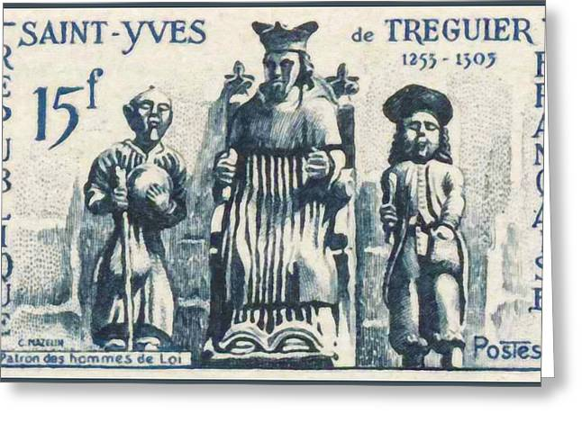 Relief Print Paintings Greeting Cards - YVES SAINT-TREGUIER 1253-1303 Patron of lawyers Greeting Card by Lanjee Chee