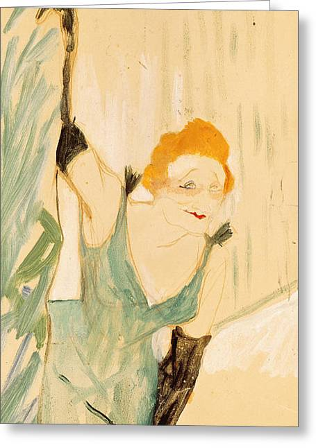 Theatre Photographs Greeting Cards - Yvette Guilbert 1867-1944 Taking A Curtain Call, 1894 Gouache On Paper Greeting Card by Henri de Toulouse-Lautrec