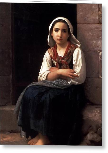 Young Lady Greeting Cards - Yvonette Greeting Card by William Bouguereau