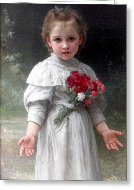 Off-the-shoulder Greeting Cards - Yvonne Greeting Card by William Bouguereau