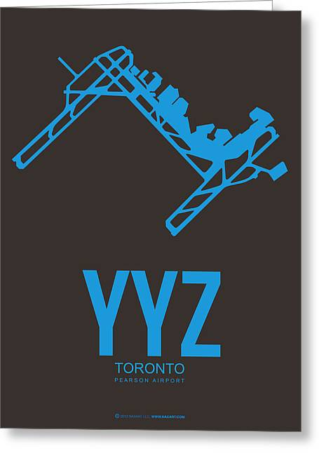 Town Mixed Media Greeting Cards - YYZ Toronto Airport Poster 2 Greeting Card by Naxart Studio