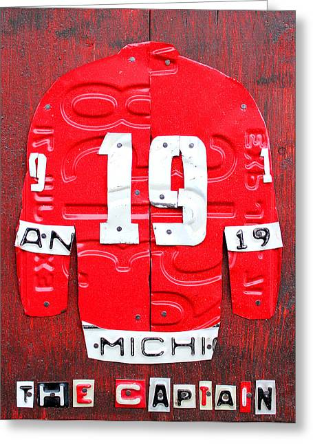 Yzerman Greeting Cards - Yzerman The Captain Red Wings Hockey Jersey License Plate Art Greeting Card by Design Turnpike