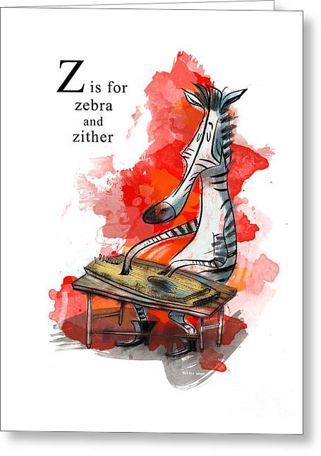 Animal Alphabet Greeting Cards - Z is for Zebra Greeting Card by Sean Hagan