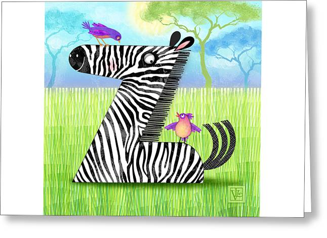 Illustrated Letter Greeting Cards - Z is for Zebra Greeting Card by Valerie   Drake Lesiak