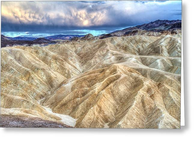 Amazing Sunset Greeting Cards - Zabriskie Mountains in Death Valley Greeting Card by Pierre Leclerc Photography