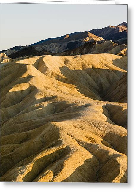 The Shadow Of Death Greeting Cards - Zabriskie Point In Death Valley Greeting Card by Richard Desmarais